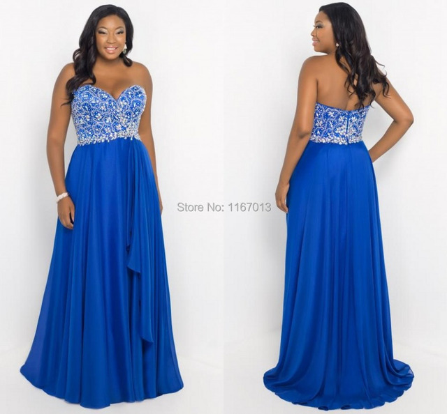 Elegant Women Plus Size Prom Dresses Royal Blue Chiffon A Line 2015