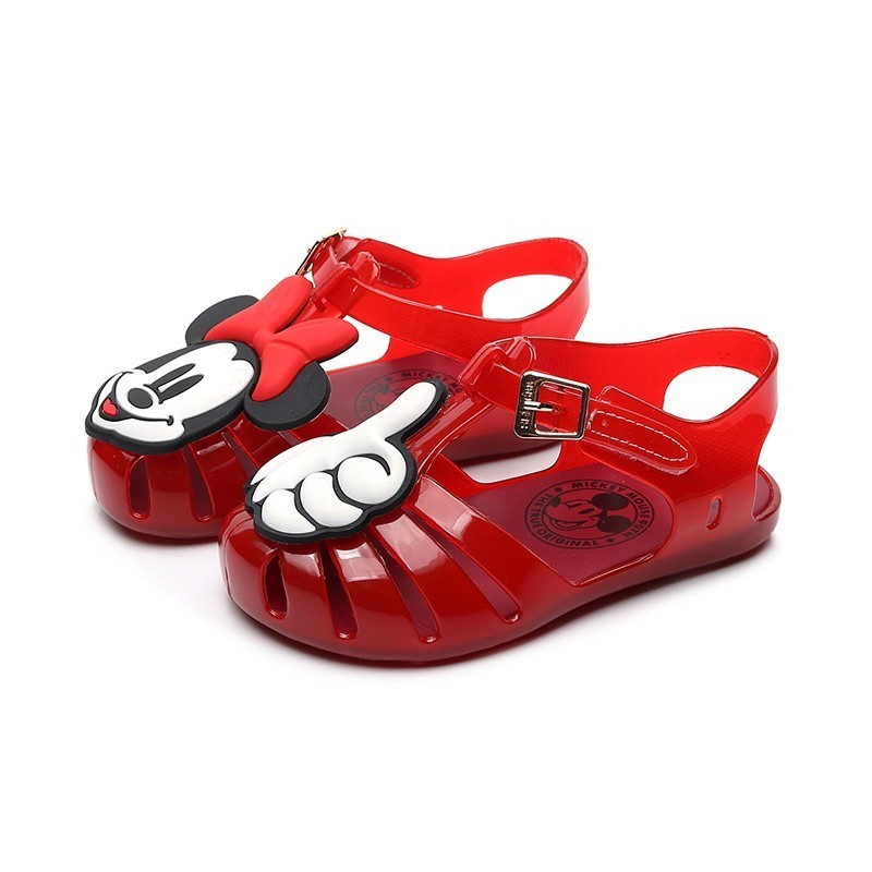 Mini Melissa 2019 New Girls Jelly Sandals Mickey Palm Kids Shoes Roman Children Sandals Melissa Girls Sandals Breathable 13-18cm