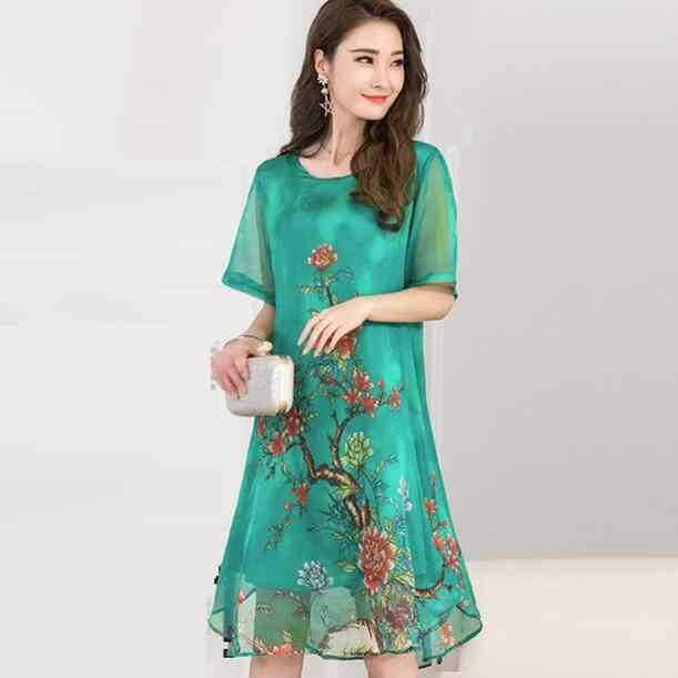 2019 Mulheres Verão vestido Floral Impressão Vestido de Chiffon Ocasional O-pescoço Curto Vestidos de Manga Longa plus size Vestidos WF314