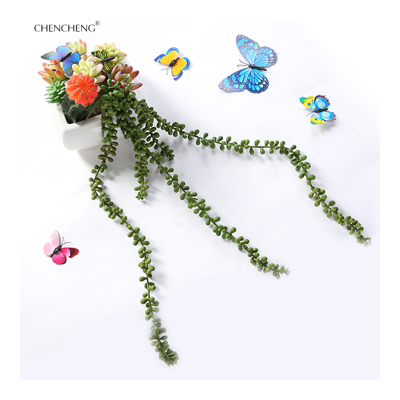 Flowers Artificial Succulents Pearls Fleshy Green Vine Flower Hanging Rattan Wall Artificial Flower Lover Tears plants CHENCHEN