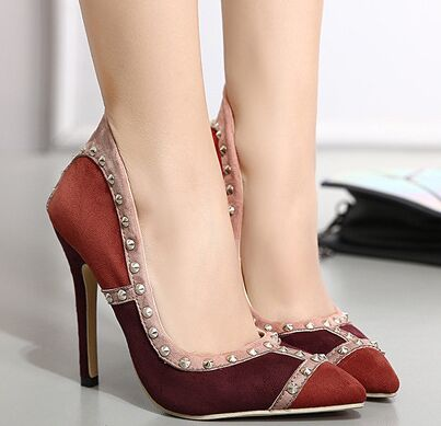 Size 4 9 Red Autumn font b Women b font Shoes New 2016 Rivets High Heels