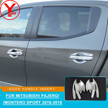 цена на chrome door handle insert For MITSUBISHI PAJERO SPORT Shogun 2016 2017 2018 ABS car styling accessories for Montero sport YCSUNZ