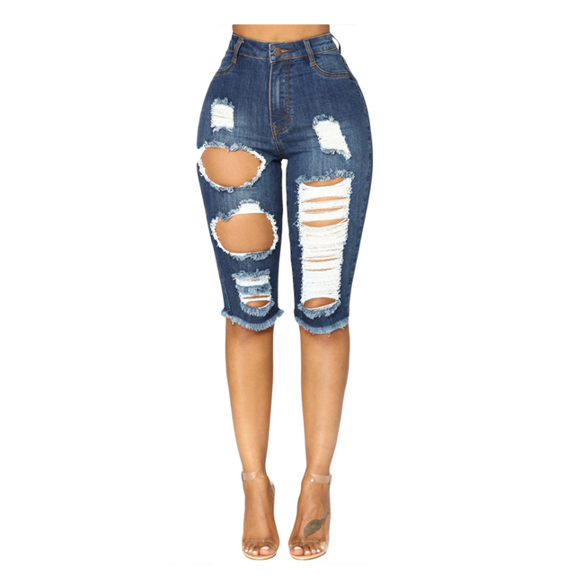 2345515a679698 New Women Deep Blue Wash Denim Destroyed Bermuda Shorts with Broken Hole  High Waist Skinny Jeans Knee Length Shorts Feminino