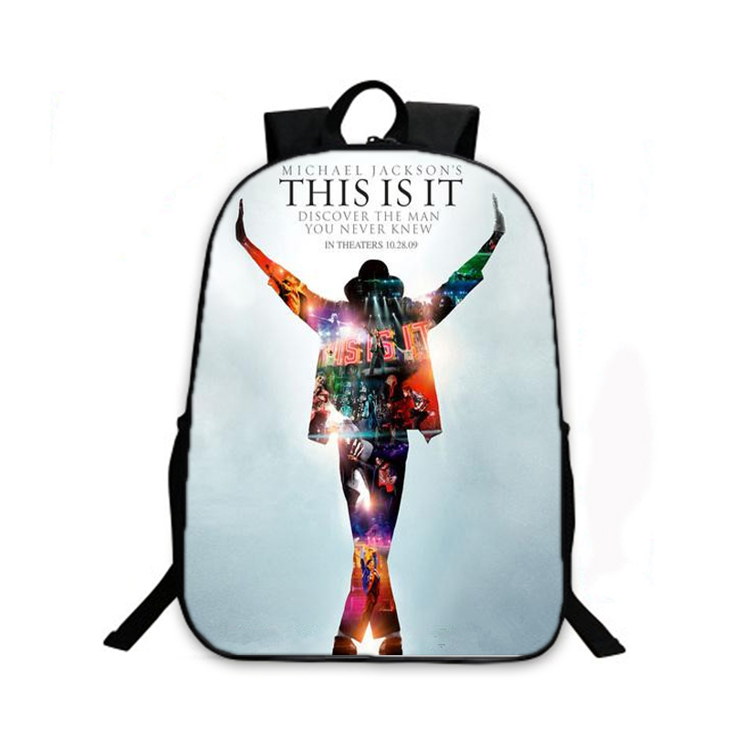 New Fashion Casual School Bag Michael Jackson Style Printing Men's Printing Laptop Bags for Boys School Kids Shoulder Backpack