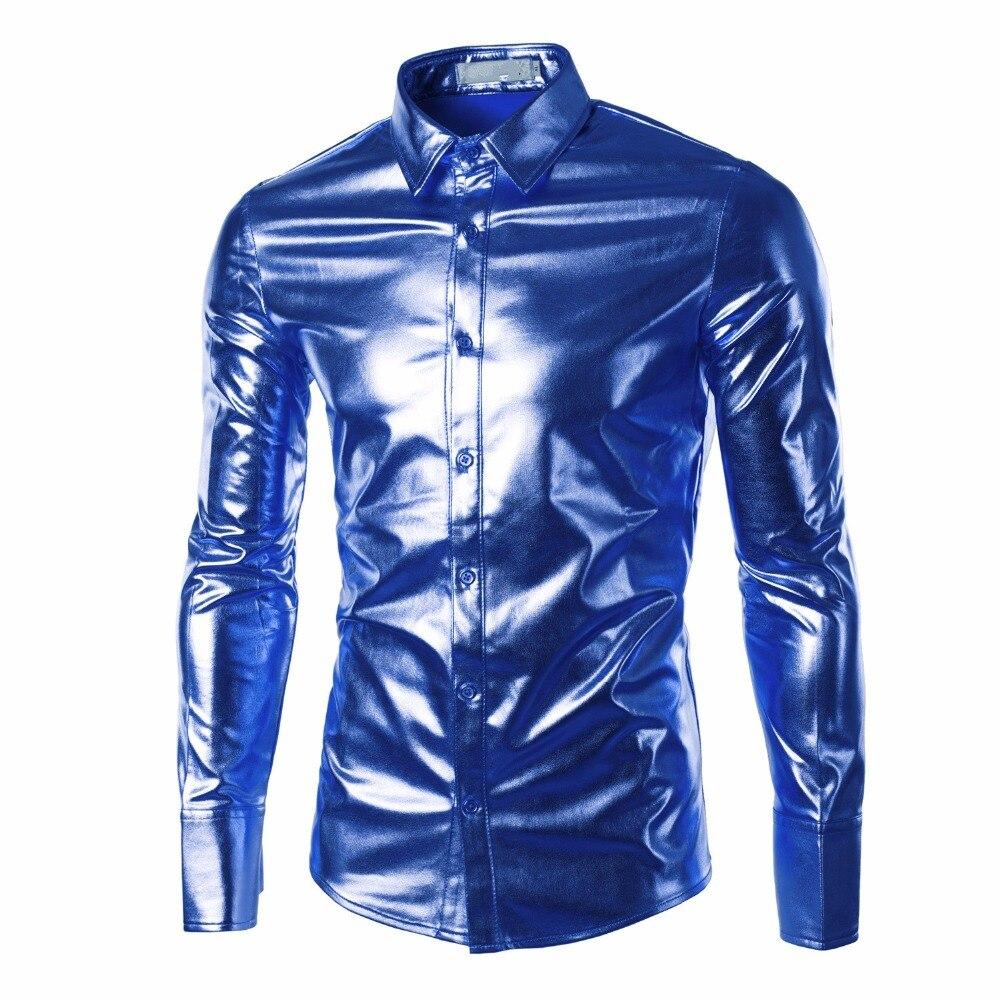Mens Dress Shirts Metallic Paisley Gold Slim Fit Long Sleeve Shirt