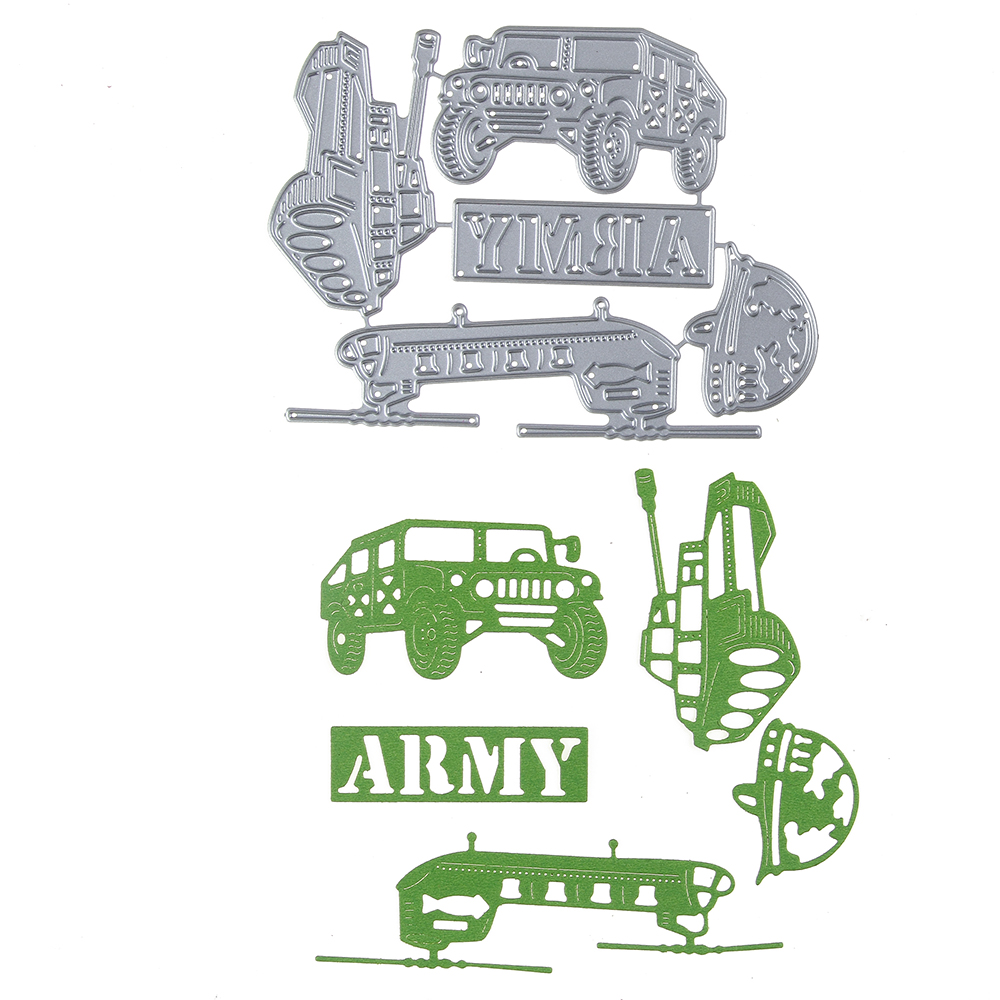 Army Fighter Marine Corps Tank Template Metal Cutting Die Stencil DIY Scrapbook Embossing Album Paper Card Craft Folder Decor