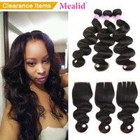 Mealid Brazilian Hair Weave Bundles Bodywave 3 Bundels With Closure 1B Nonremy Body Wave Bundles Human Hair Bundles With Closure