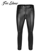 7ede5c9edbb81 Black Mens Faux Leather Zipper Open Crotch Tight Pants Legging Trousers  Clubwear Fashion Men's Slim Fit Stretchy Legging Pants