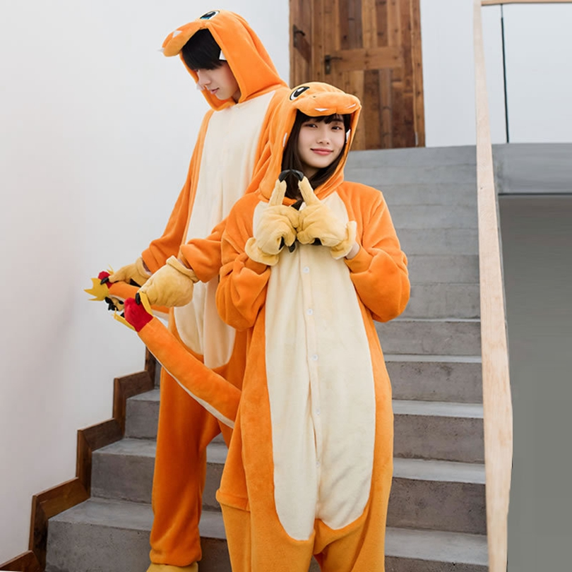 Adults Animal Kigurumi Charmander Dinosaur Dragon   Pajamas     Sets   Cosplay Onesie Hooded Women Men Winter Unisex Cartoon   Pajamas