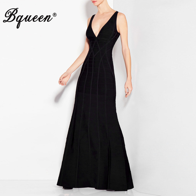Bqueen 2017 Winter New Black Deep V Neck Backless Bandage Gown Maxi ...