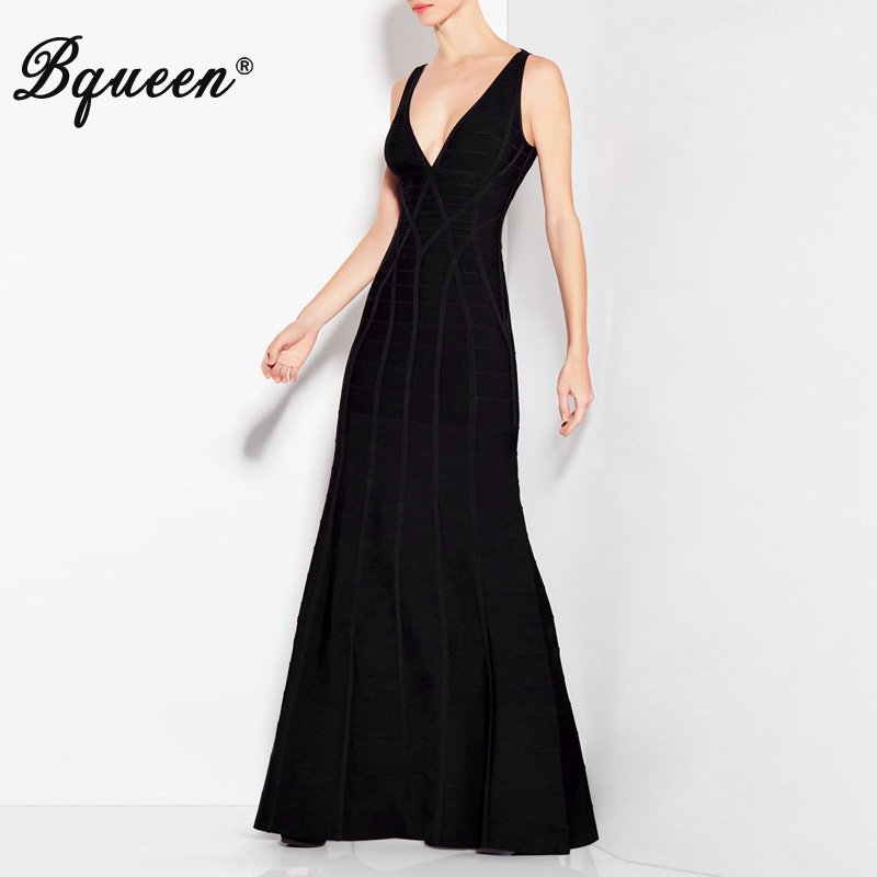 Bqueen 2017 Winter New Black Deep V-Neck Backless Bandage Gown Maxi Party Dresses