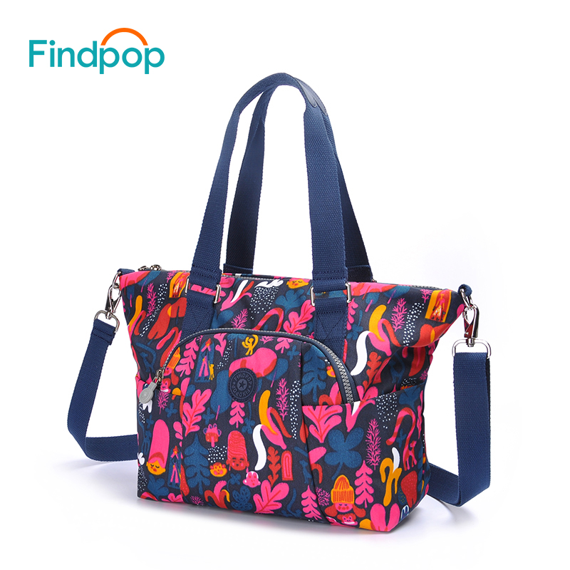 Findpop Brand Flowers Printing Women Shoulder Bags Large Capacity Crossbody Bags For Women 2018 New 2 Sizes Casual Shoulder Bags