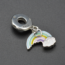 Drop glue craft rainbow lucky pendant is acted the role of euramerican vogue popular silver bracelet fittings bocai silver makeup india nepal bali silver acts the role of by hand rainbow blue moon stone ring