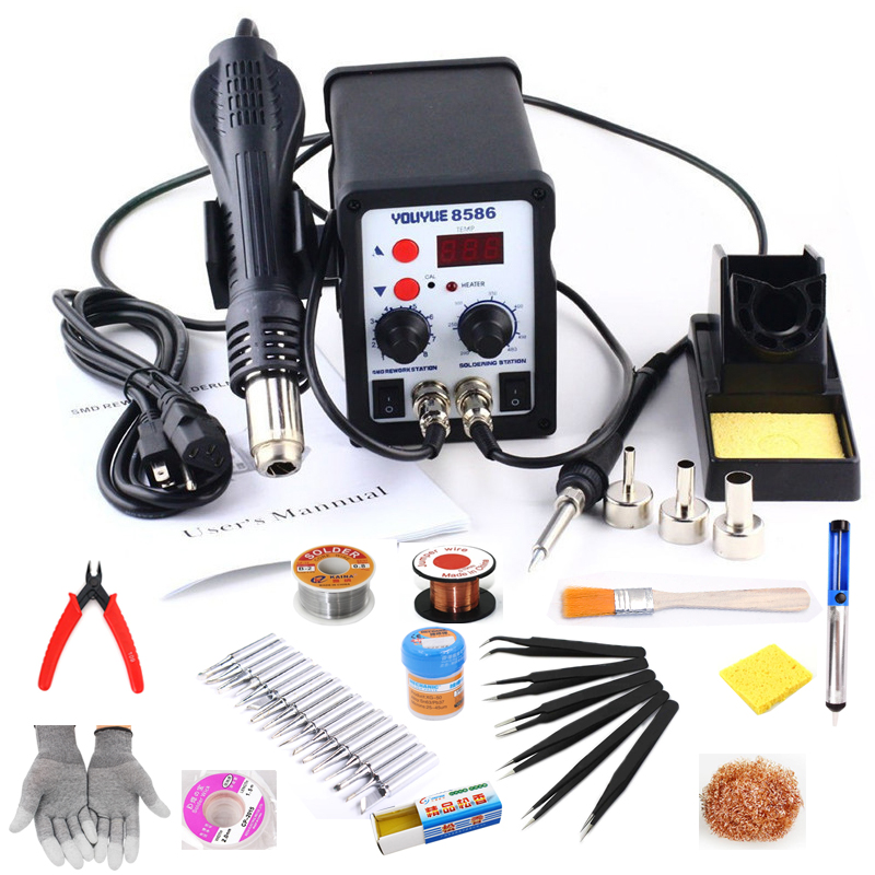 цена на 8586 2 in 1 ESD Soldering Station SMD Rework Soldering Station Hot Air Gun set kit Welding Repair tools Solder Iron 220V 110V
