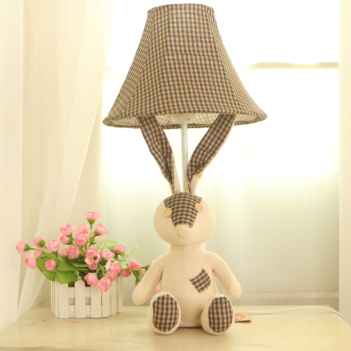 Hot selling quality rustic fabric grey beige plaid vintage cartoon hot selling quality rustic fabric grey beige plaid vintage cartoon bear table lamp childrens bedroom lighting night lights lamp in table lamps from lights geotapseo Choice Image