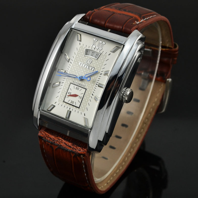 Goer Automatic Watch Men Elegant Rechthoekige wijzerplaat lederen band Autoamtic Self-wind mechanische horloges voor mannen Relogio Masculino