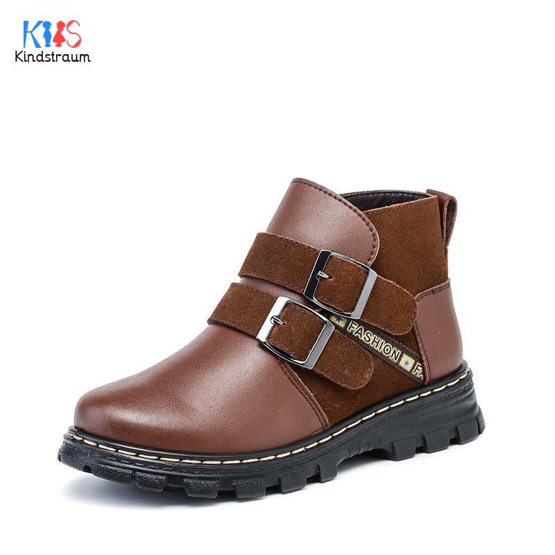 2017 Winter Children Genuine Leather Boots Brand Boys & Girls Cotton Buckle Shoes Fashion Ankle Martin Boots for Kids,RJ249