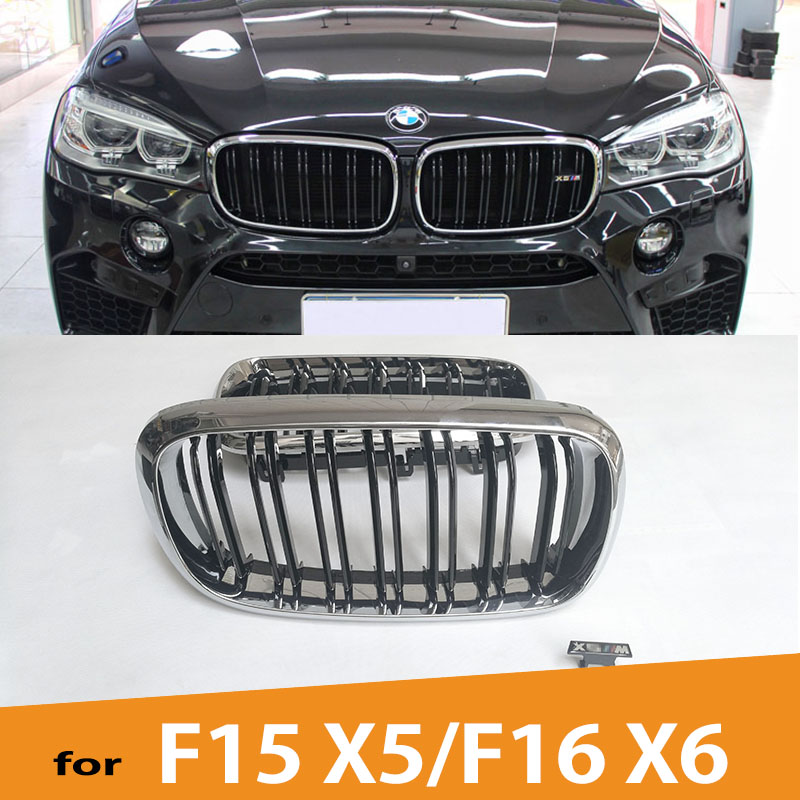 F15 F16 M-Look ABS Chrome Gloss Black Front Racing Grill Grille for BMW X5 F15/X6 F16 2015 2016 2017 2018 цена 2017