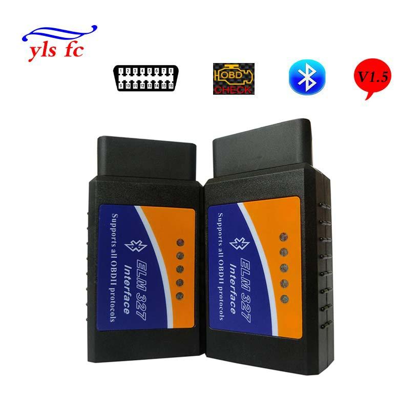 Prix pour Pas cher V1.5 elm327 Bluetooth Obd2 Scanner Elm 327 V 1.5 adaptateurs De Voiture Scanner Pour Android Elm327 Obd 2 II Auto de diagnostic-Outil