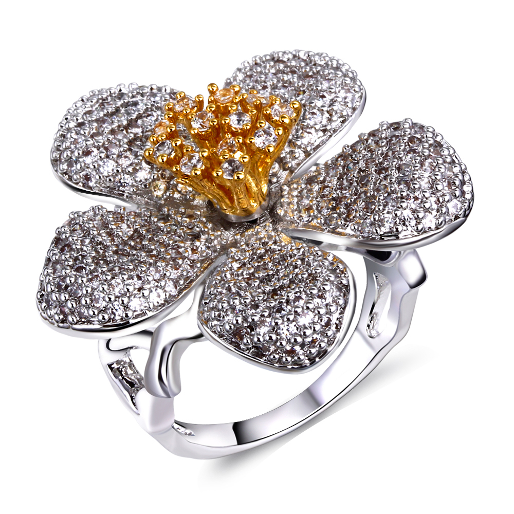 Flower Shape Ring Setting with Cubic Zirconia Stone Gold Color and ...