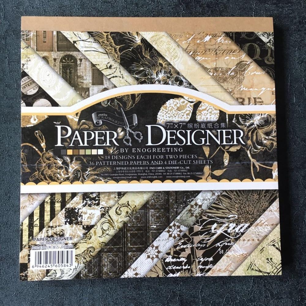 Scrapbook paper aliexpress - 7 Retro Black Theme Vintage Scrapbooking Paper Pack Set 40sheets Pattern Background Paper Pad Diy Craft Paper Kit
