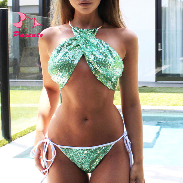 871576b82f270 Pacento 2018 Green Shiny Sequins Bikini High Neck Bathing Suit Women  Swimwear Female Plus Size String Swimsuit Beach Plavky XL