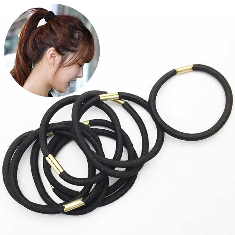 3 Pcs/Pack Women Girls Simple Black Hair Rope Elastic Hair Bands Hair Accessories Wholesale