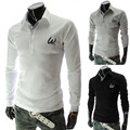 New 2014 Spring Brand Classic W embroidery Fashion Mens Polo Shirts Casual Slim fit Long sleeve Tees & Tops M-XXL
