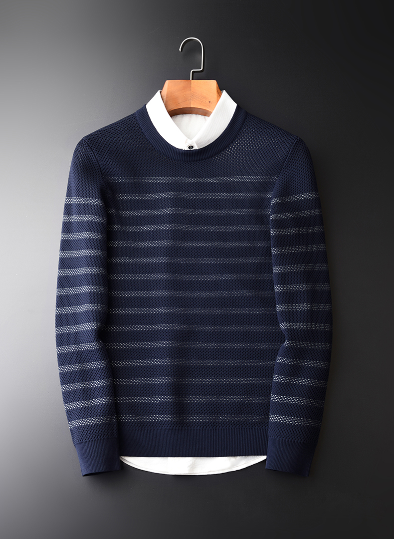 8443dce98 2019 Minglu Men Sweater Fashion Double Weave Striped Jacquard ...