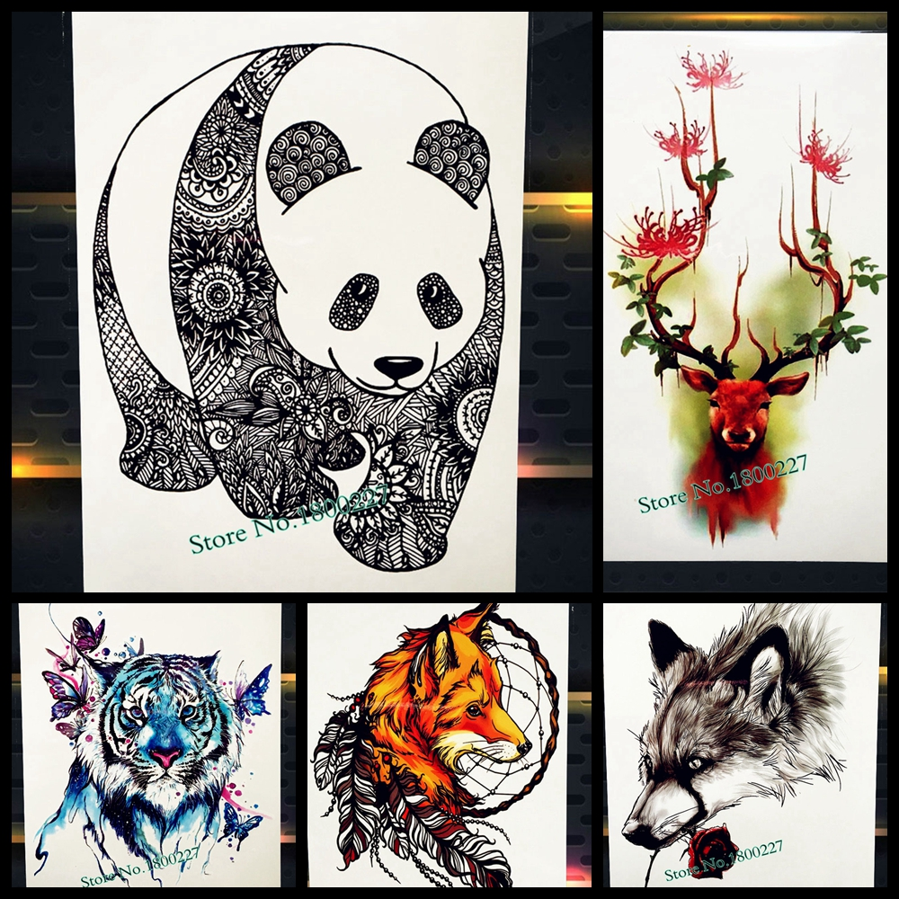 Black Chinese Panda Temporary Tattoo For Men Women Mandala Flower Arm Tatoo Body Back -6851