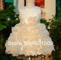Free Shipping Childrens Girl Pearl Full Ruffles Chiffon Organza Green Flower Girl Ball Gown Tutu Dress