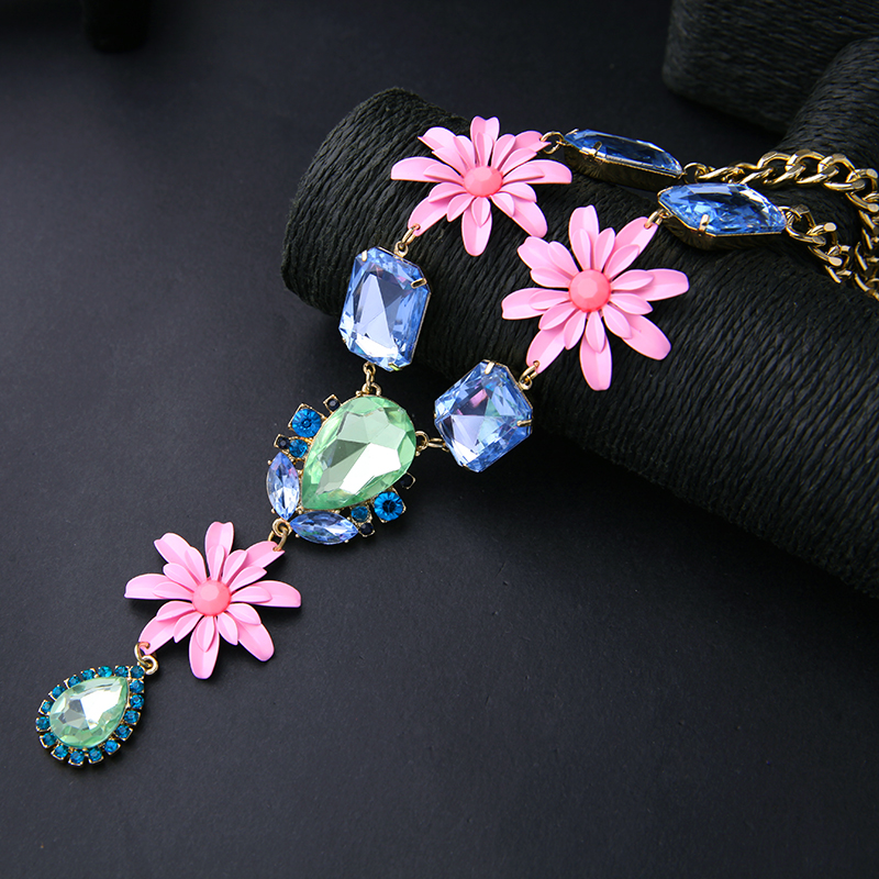 Graceful Gold Color Pink Flower Chic Necklace Long Pendant Green Water-drop Chunky Chain Cute Necklace For Little Girl