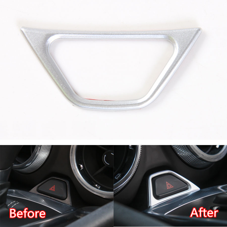 YAQUICKA Auto Interior Car Emergency Light Lamp Adjust Switch Button Frame Trim Styling Sticker For Chevrolet Camaro 2017+ ABS