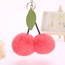 8cm Cute Cherry Artificial Rabbit Fur Ball Keychain Keyring Pompom Leaf Handbag Pendant Car Key Chian Ring Holder 16 colors