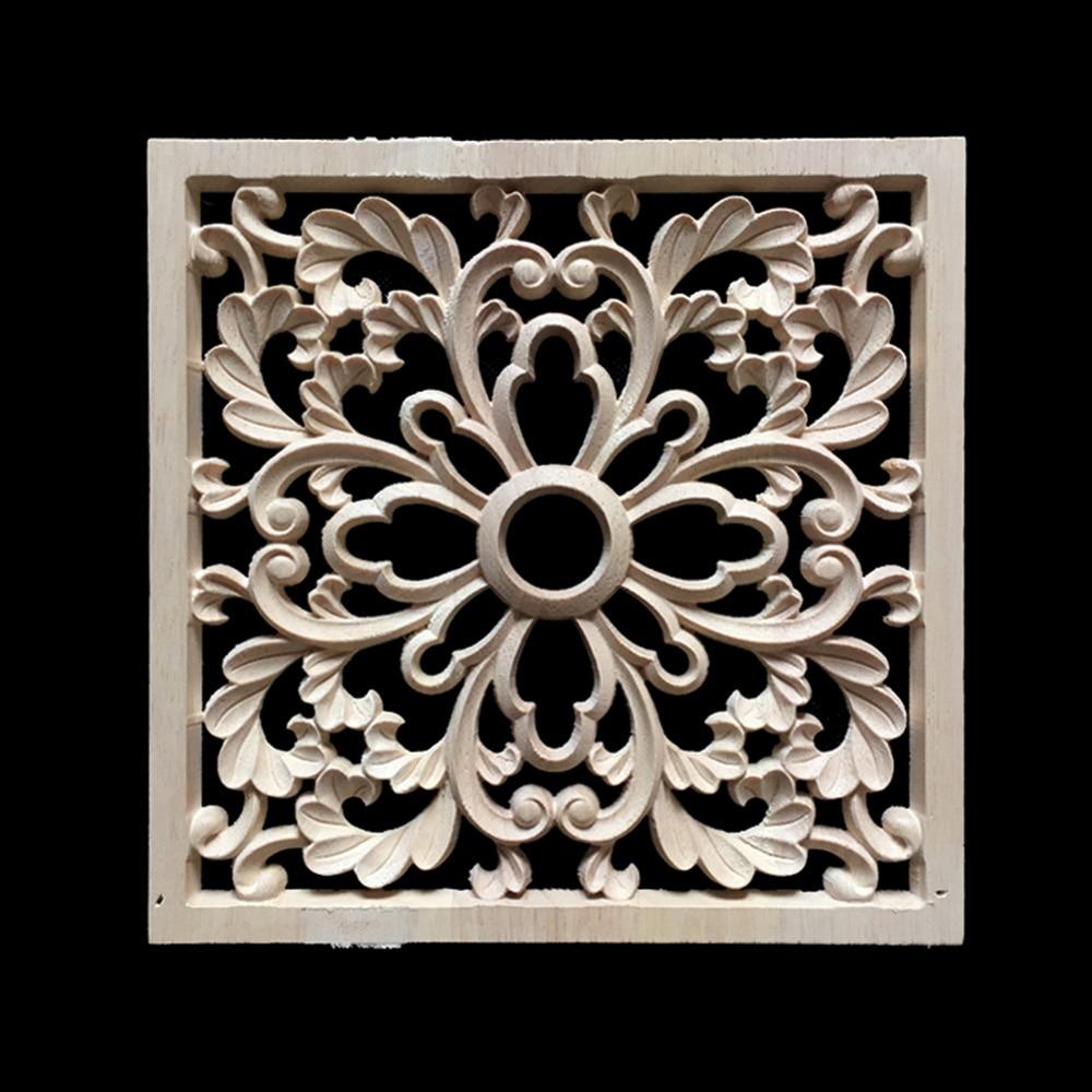 20cm Vintage Wood Carved Decal Corner Onlay Applique Frame Furniture Wall Unpainted for Home Cabinet Door Decor Crafts