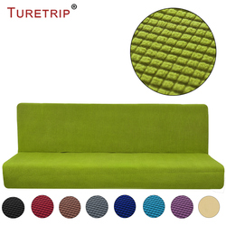 Turetrip 1PC Solid Color Sofa Cover For Sofa Bed Futon Slipcover Full Folding Elastic Armless Stretch Furniture Protector