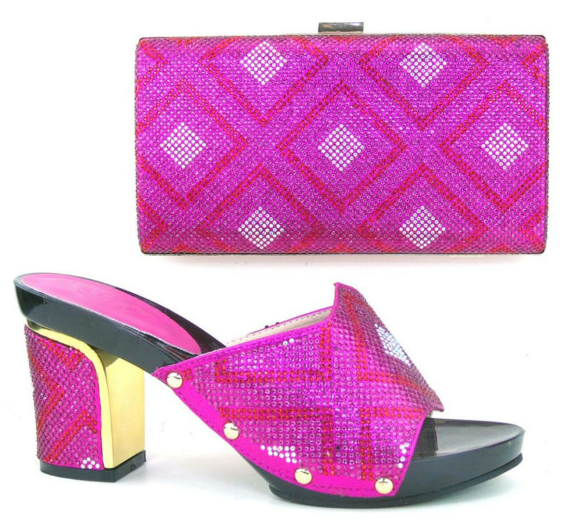ФОТО FUCHSIA PINK New Style CP2106 Woman Shoes And Matching Bag Set with color stone 9CM HEELS