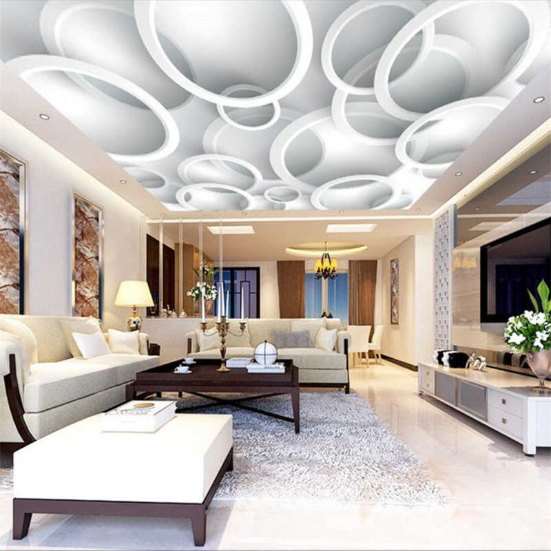 wellyu papel de parede Custom Wallpapers 3d Photo Murals Обои Vector White Simple Atmosphere Mirage Circle Ceiling 3d wallpaper
