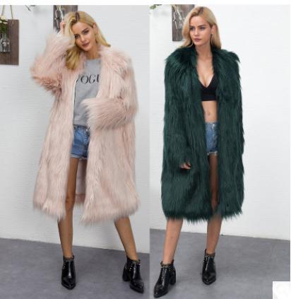 Vêtements Green Femmes Section Renard Date Vestes Longue grey K878 black Outwears Taille Immitation De Casual pink white Fourrure Femme Hiver Faux Manteaux Grande 68ggqdU