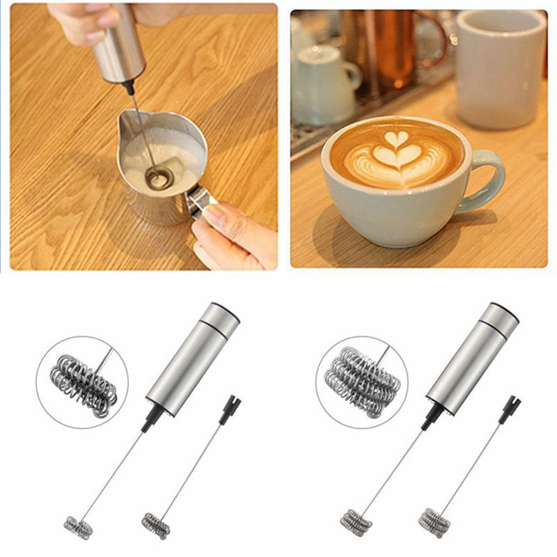 Stainless Steel Electric Handheld Milk Frother Foamer Whisk Mixer Egg Beater Coffee Maker Blender Auto Stirrer Kitchen Tools
