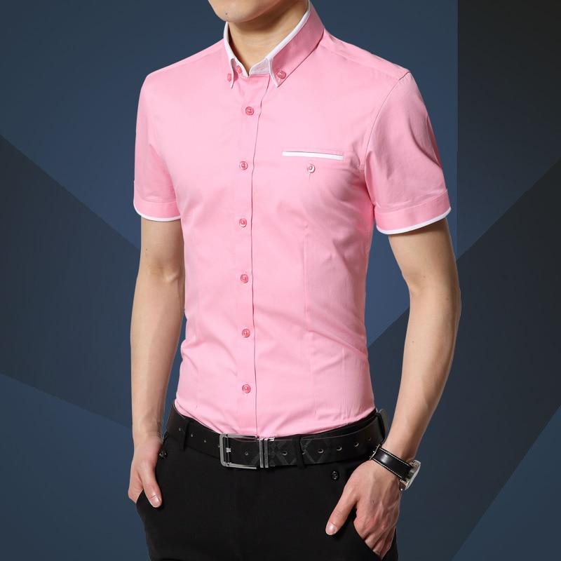 100% QualitäT 2019 Sommer Neue Männer Hemd Der Marke Luxus Männer Baumwolle Kurzen Ärmeln Kleid Hemd Drehen-unten Kragen Strickjacke Shirt Männer Kleidung