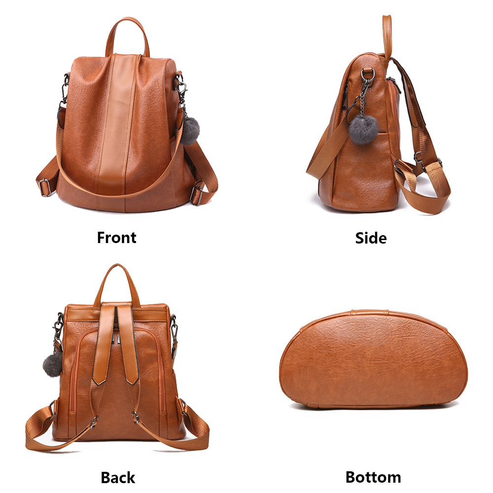 Image 4 - HERALD FASHION Quality Leather Anti thief Women Backpack Large Capacity Hair Ball School Bag for Teenager girls Male Travel Bags-in Backpacks from Luggage & Bags