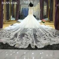 BANVASAC 2017 Nouvelle Sirène Élégante Fleurs Chérie Robes De Mariage De Broderie Sans Manches En Satin Chapelle Train Robes De Mariée