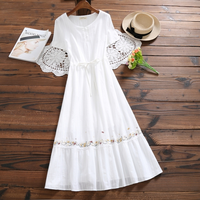 8b99d10ba8e Mori girl summer pure cotton women long dress o neck white floral embroidery  vestidos longo short