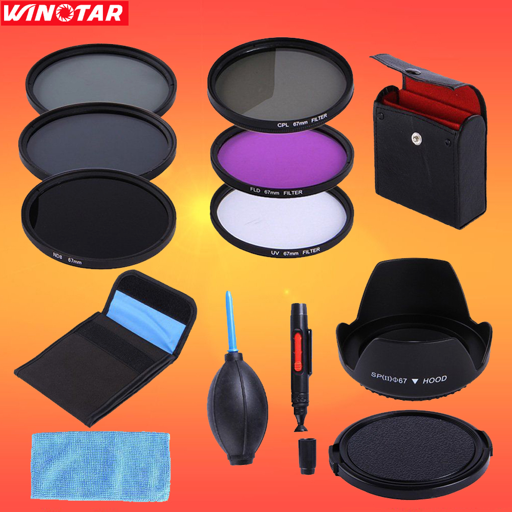 67mm 67 mm UV CPL FLD ND 2 4 8 ND Filter Kit + Lens Hood + Lens Cap +3 in 1 lens Cleaning kit + Filter case For DSLR Camera Lens