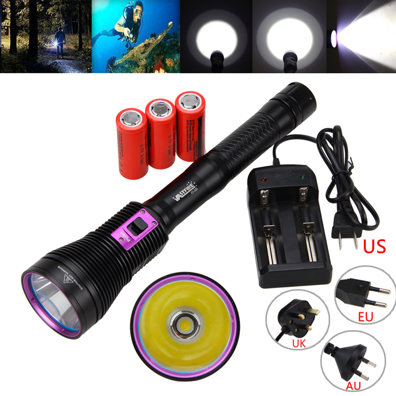 Waterproof Underwater 100m Diving Light 8000Lm XHP70 LED Scuba Diving Flashlight Fishing Torch Diver Lamp+3x26650 Battery+CH led diving flashlight torch 100m underwater light diver light 5 x cree xml l2 8000 lumens scuba lanterna with 18650 battery