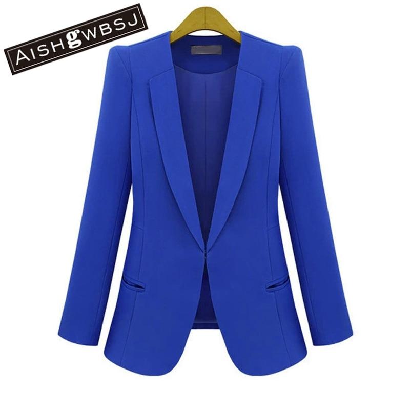 AISHGWBSJ Feminino Women Blazers and Jackets Coats Long Sleeve Slim Outerwear New Fashion Plus Size S M L XL 2XL 3XL 4XL ZP188