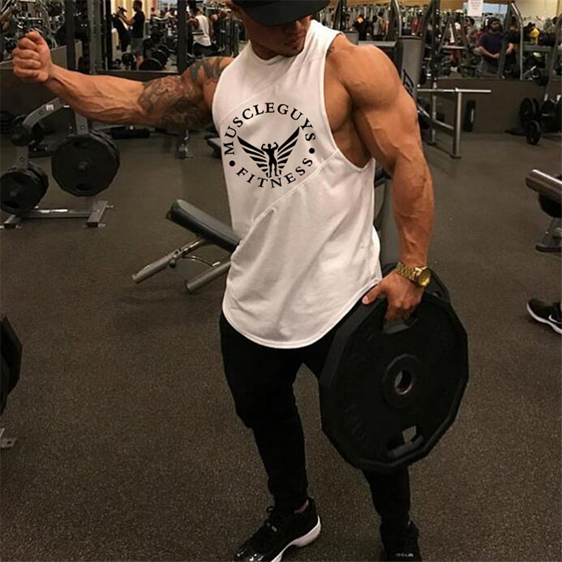 Muscleguys Brand Fashion Soft Men's gymnasium Tank Tops Low Cut Armholes Sexy Men's Top Tees Xman Muscle Man's Fitness Vest