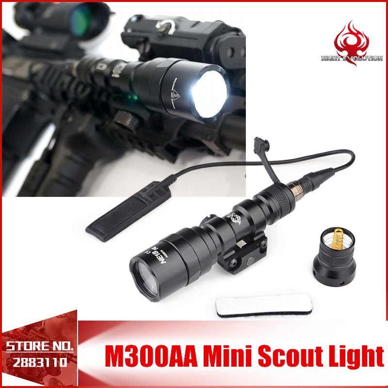 Night Evolution M300AA Mini Scout Light Tactical Outdoor Rifle Hunting Flashlight LED Lanterna NE04061