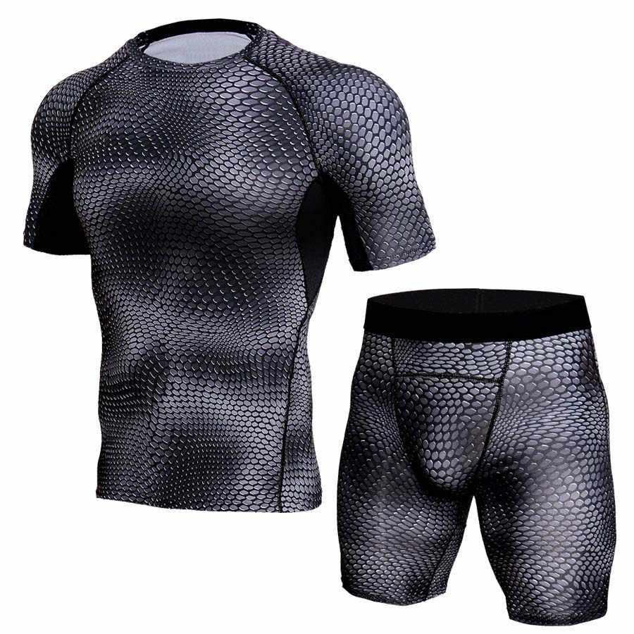 2019 спортивный костюм компрессионная футболка для мужчин джоггеры спортивные мужские футболки спортивная одежда фитнес джоггеры Мужская футболка Рашгард
